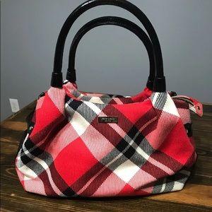 Kate Spade Plaid Red Black and Cream Handbag